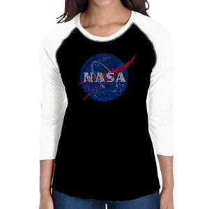 Women's Raglan Baseball Word Art  NASA's MISSIONS